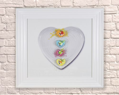 Large Heart Dessert White 65cm Frame 3D Artwork